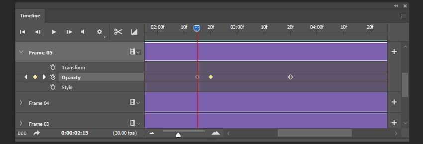 Creating final keyframes sequence for Frame 05