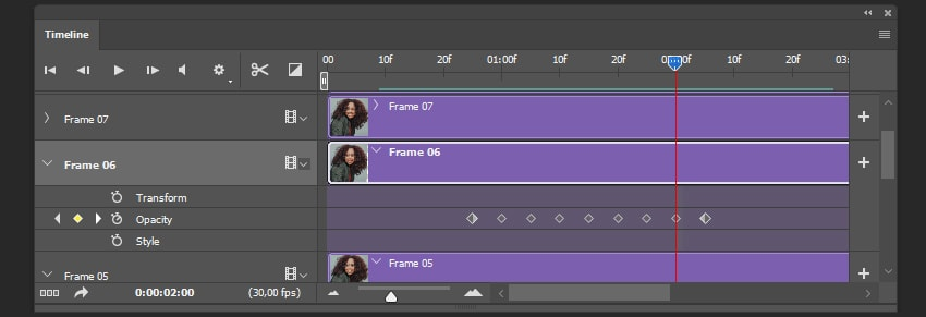 Creating keyframe sequence for Frame 06