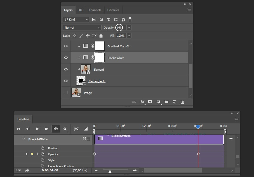 Creating the animation for black and white filter