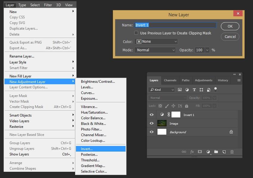 Creating new adjustment layer