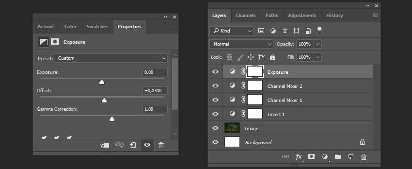 Creating exposure adjustment layer