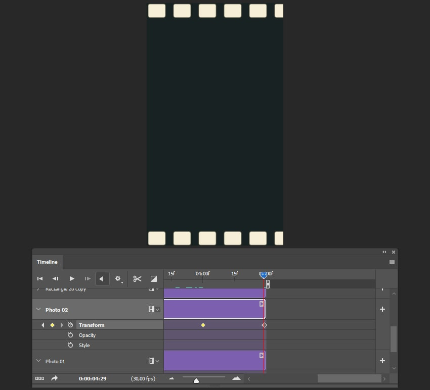 Creating the last keyframe for the second image