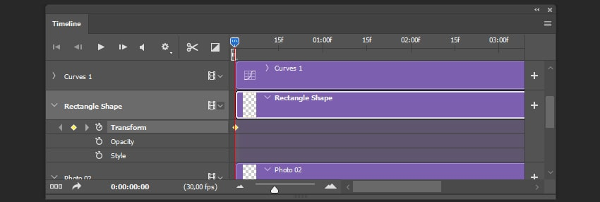 Creating the first keyframe of the shape animation