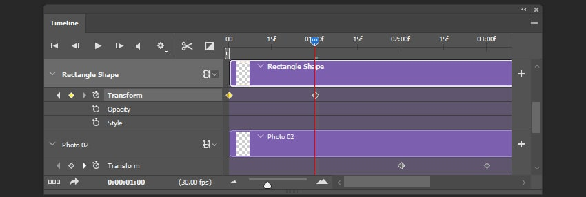 Creating the second keyframe for the shape layer