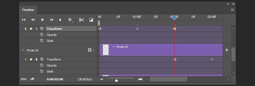 Creating the stop keyframe for the shape layer