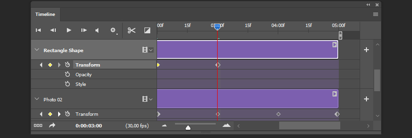 Creating the keyframe for the shape layer