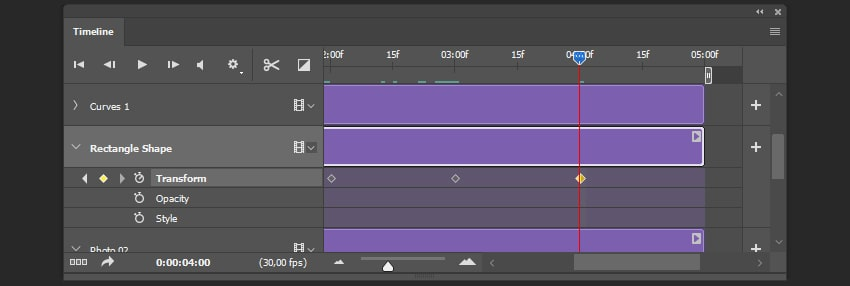 Creating the second stop keyframe for the shape layer