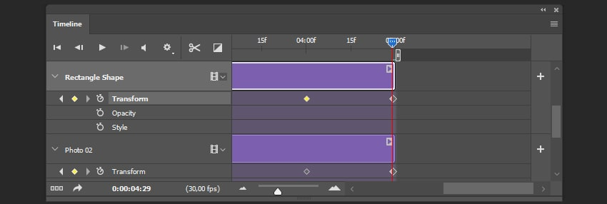 Creating the last keyframe for the shape layer