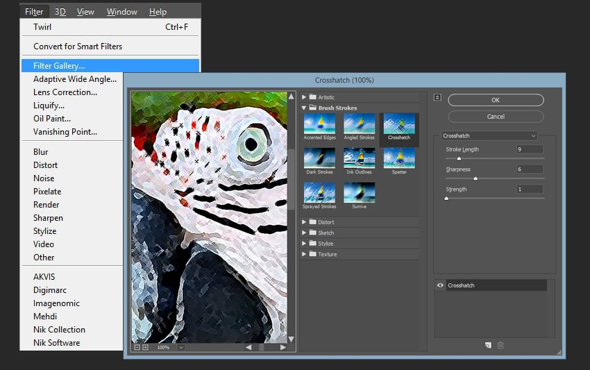Adding crossshatch filter to the smart object