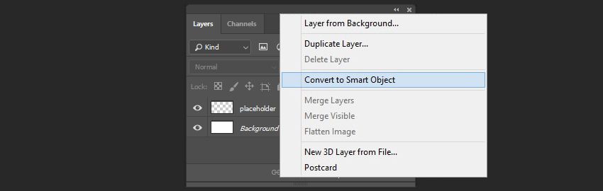 Converting image to smart object