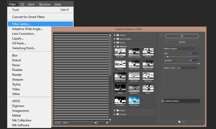 Adding a halftone effect to the layer