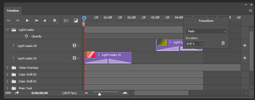 creating the fade transitions for the second light leaks