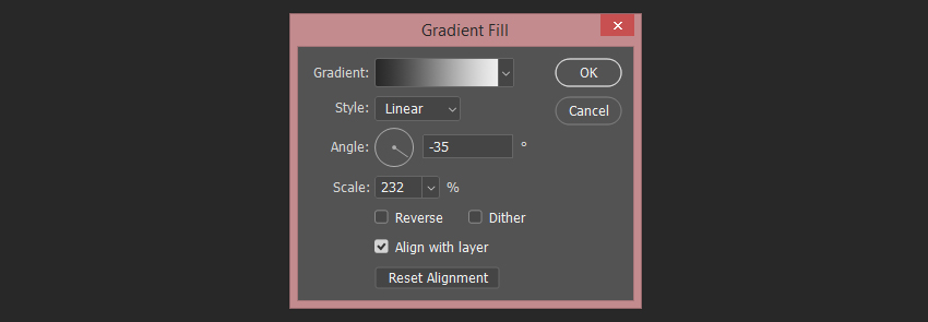 setting up the first gradient fill