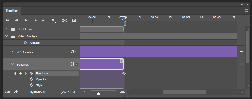 creating the last keyframe for the tv lines texture