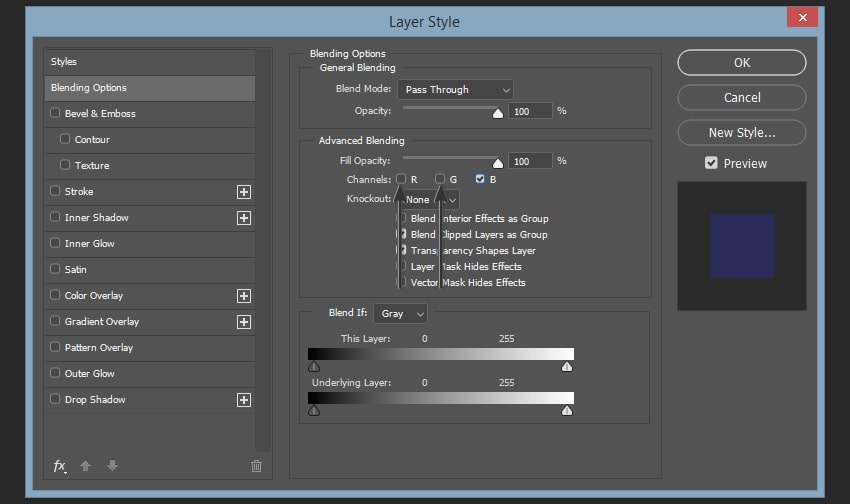 Creating the second color shift effect