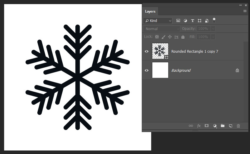finishing the snowflake shape