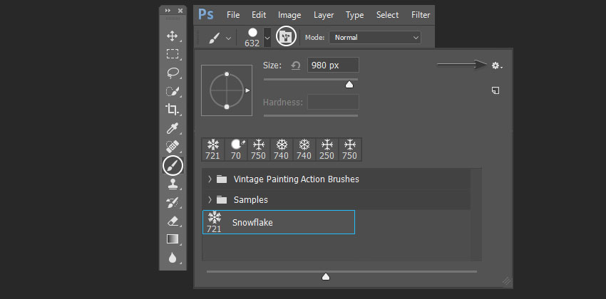 opening the settings of the custom brush