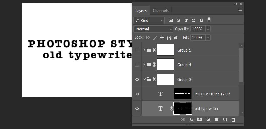 adding the mask effects to text layers