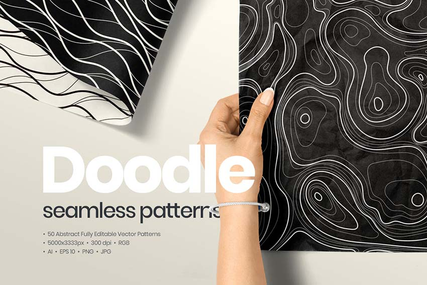 50 Abstract Doodle Seamless Patterns