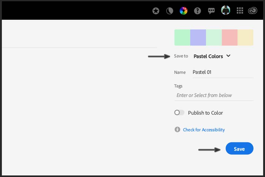Saving the color palette in creative cloud