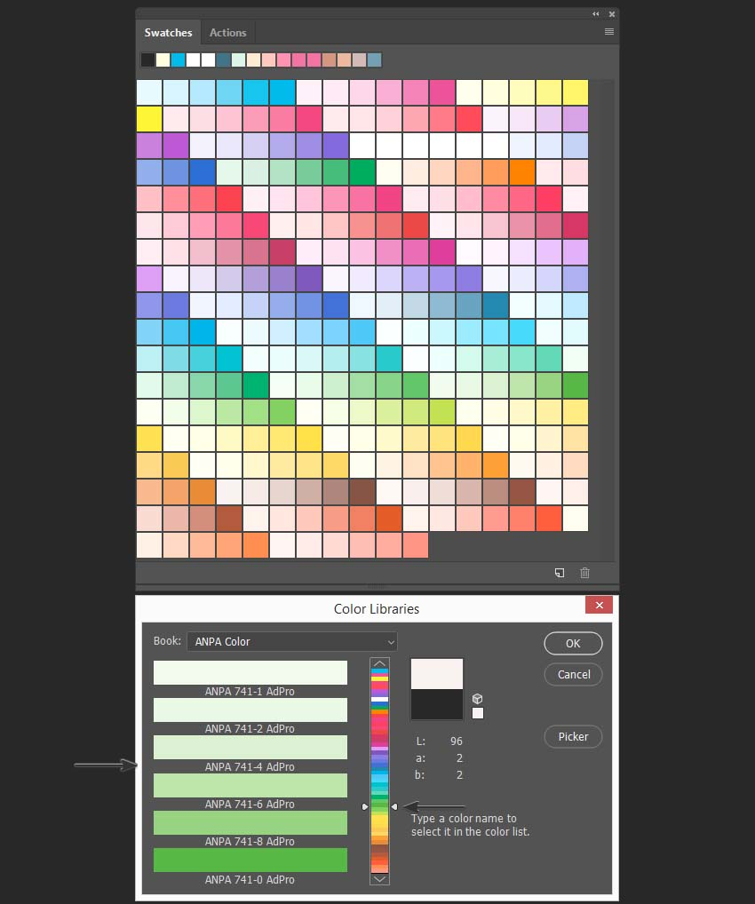 color libraries in swatches panel and in color picker tool