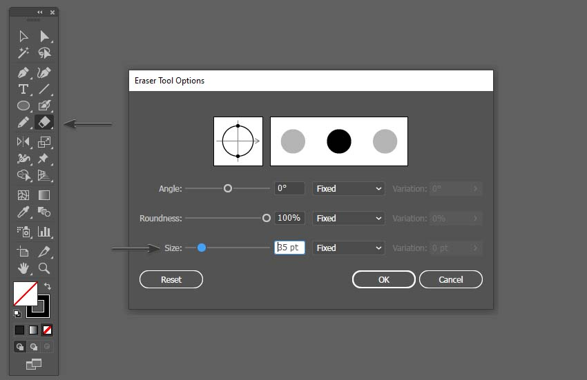 changing the size of the eraser tool