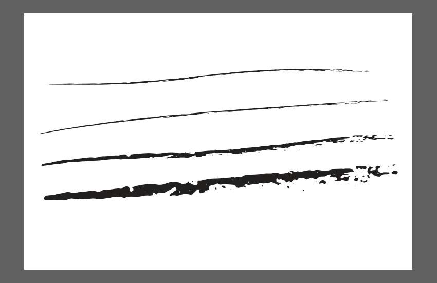 different stroke sizes of custom brush
