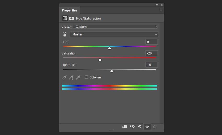 adding hue saturation adjustments layer