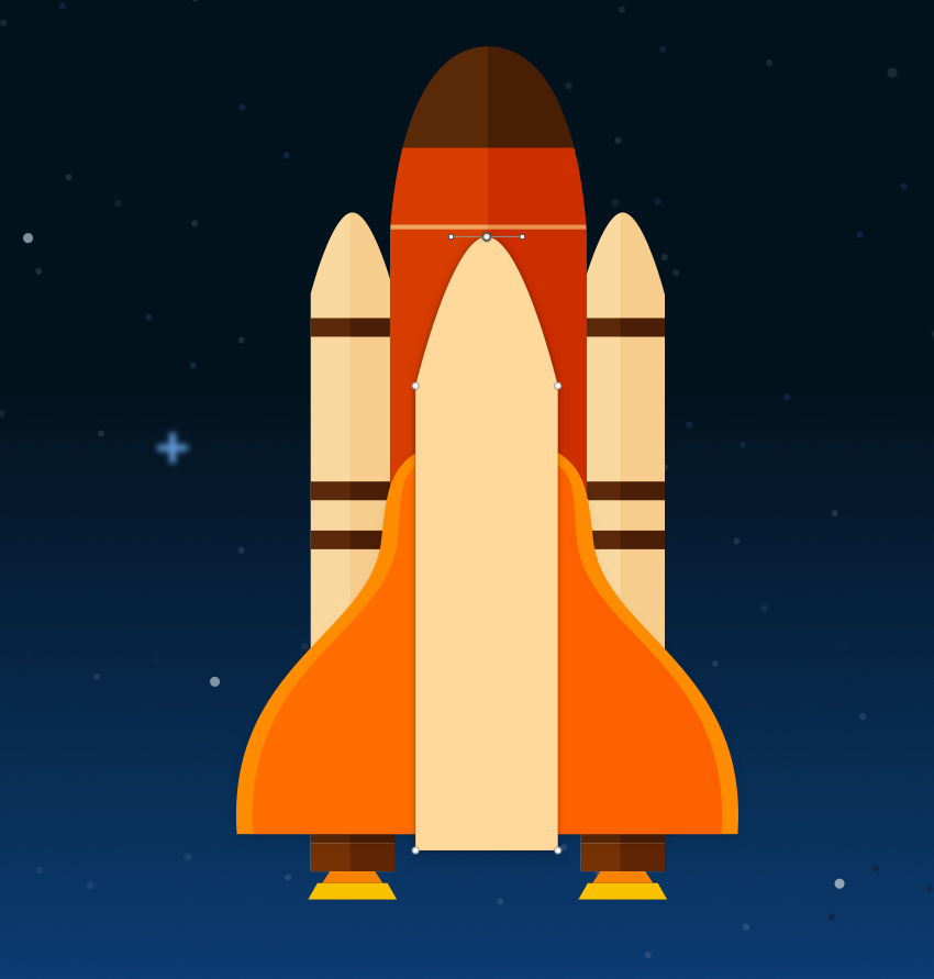 How to create a space shuttle scene in sketch for Space created