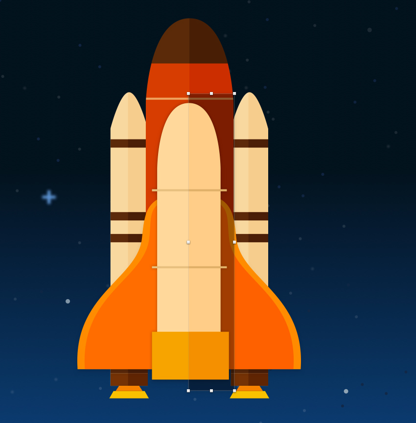 Space shuttle shadow - adjust blending and opacity