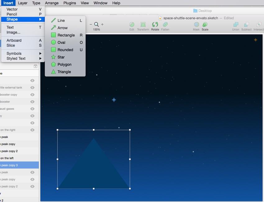 Create basic mountain peak shape