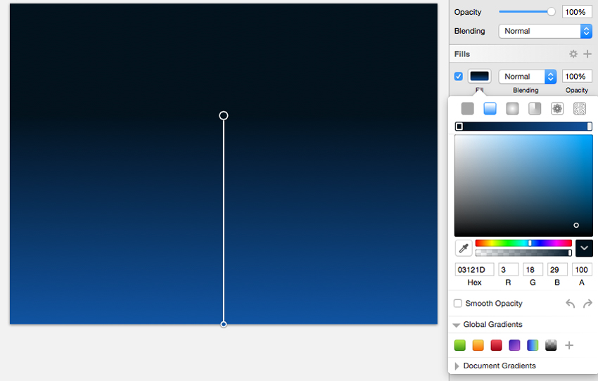 Set top color of the gradient