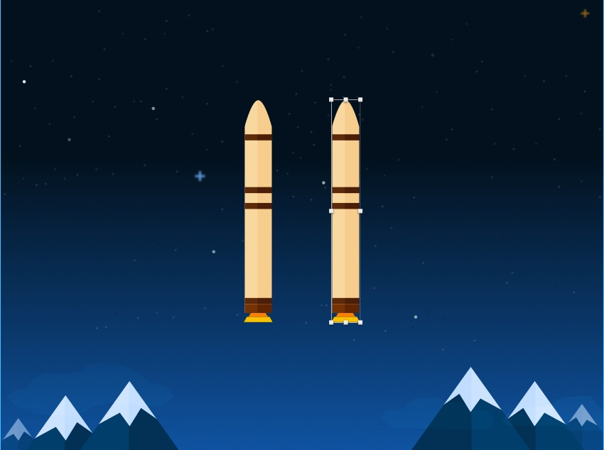 Duplicate rocket booster and move it to the right