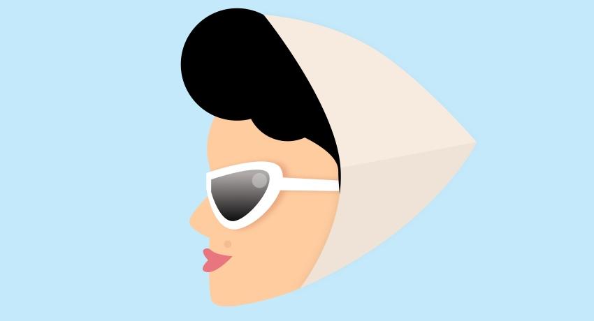 Girl - scarf black shape opacity