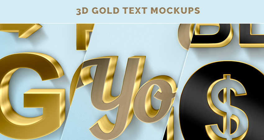 3D gold text and logo mockups