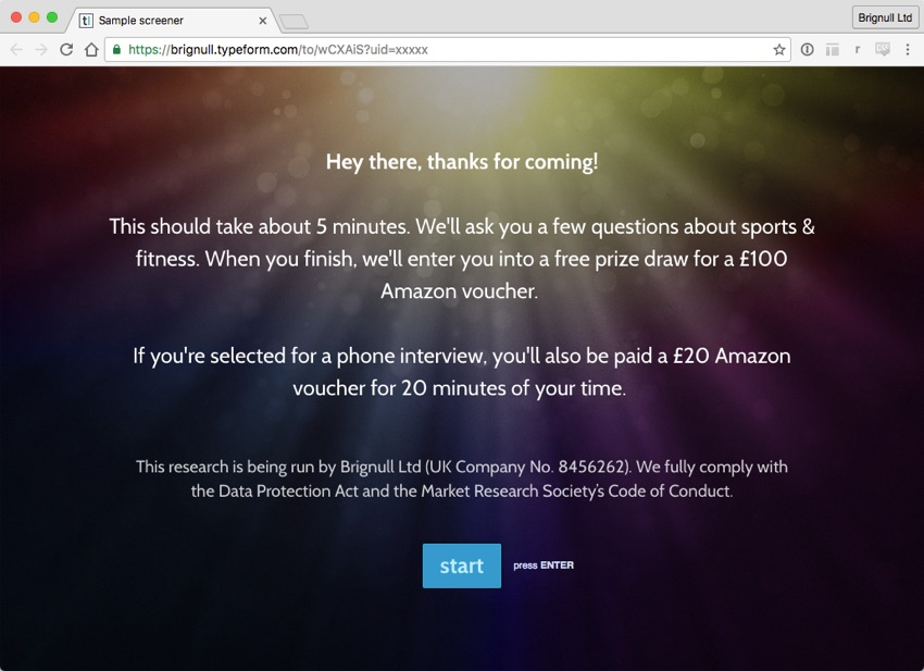 Screenshot of a typeformcom questionnaire