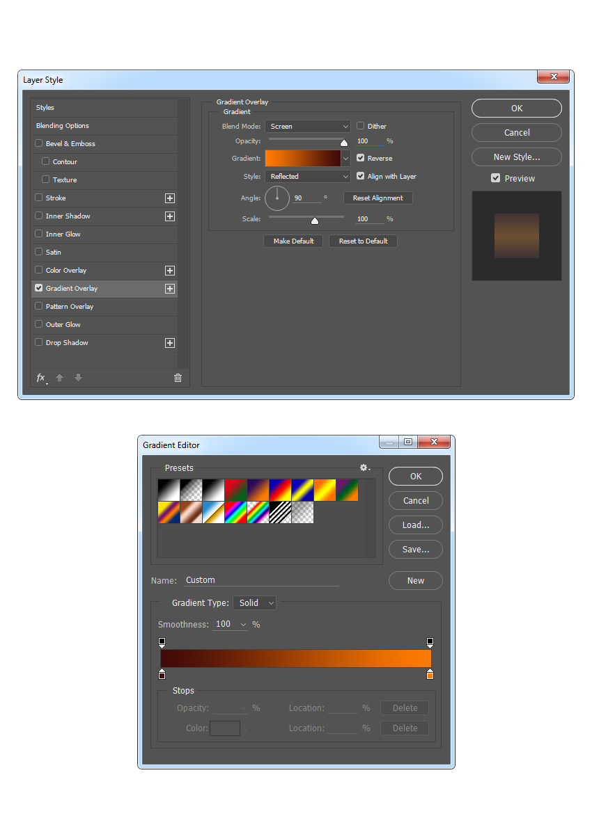 Adding gradient overlay style to background dust layer
