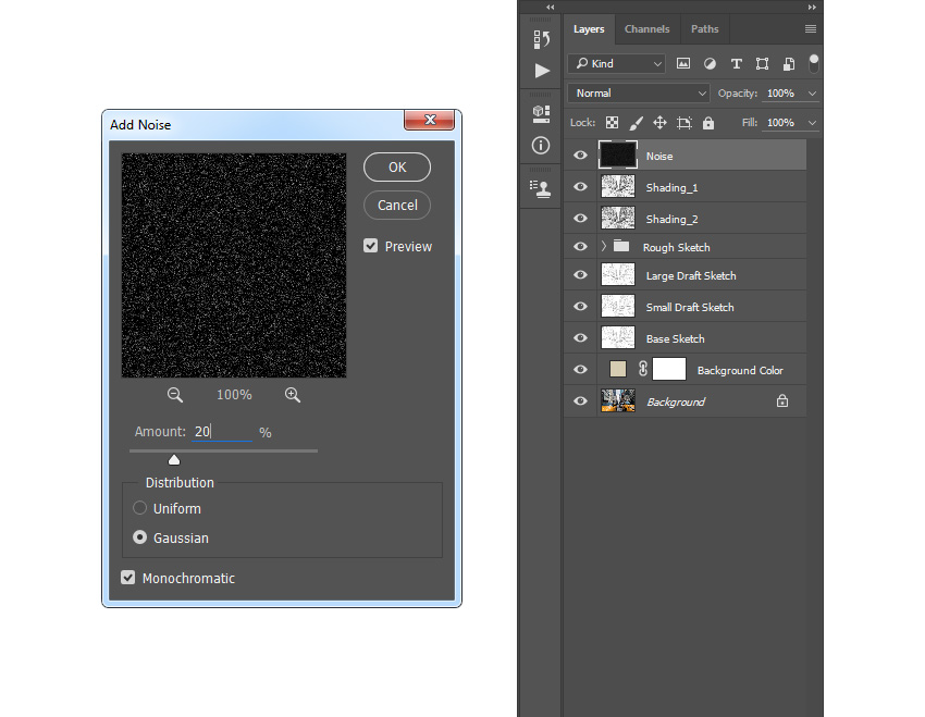 Adding noise filter to the noise layer
