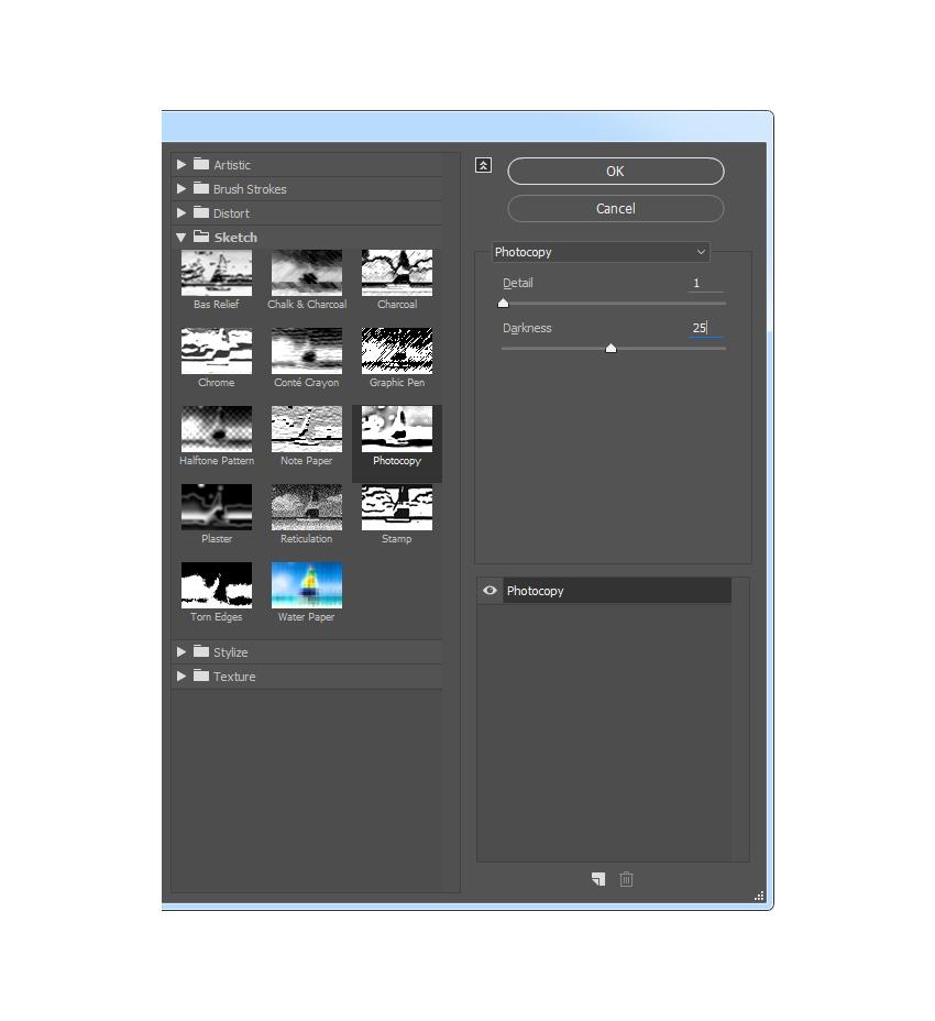 Adding the sketch photocopy filter