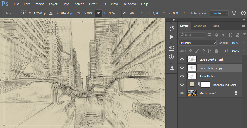 Transforming draft sketch layer