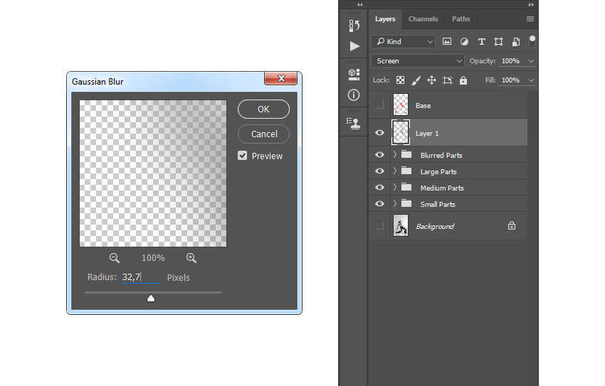 Adding gaussian blur filter to Layer 1