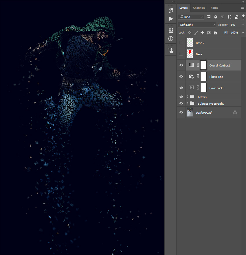 Changing blending mode and opacity of Overall Contrast layer