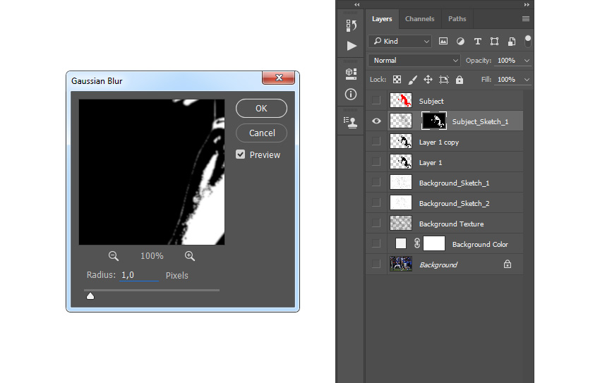 Adding filter gaussian blur to layer mask of layer Subject_Sketch_1