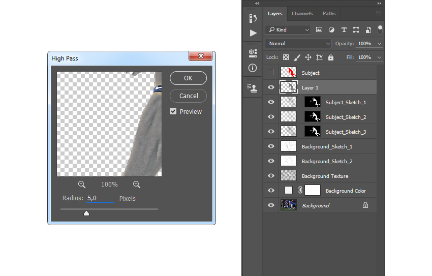 Adding filter high pass to Layer 1 layer