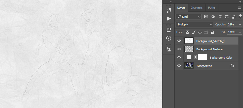 Changing blending mode and opacity of Background_Sketch_1 layer