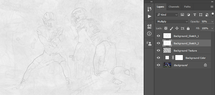Changing blending mode and opacity of Background_Sketch_2 layer