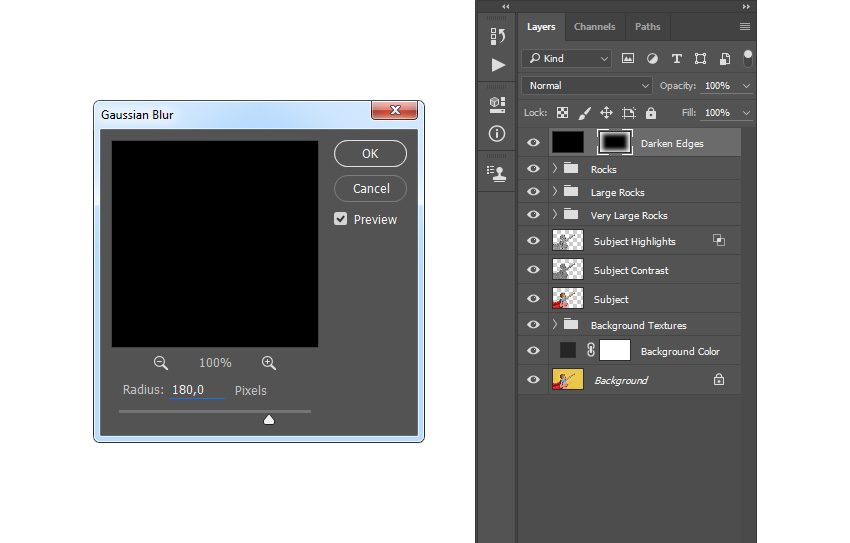 Adding filter gaussian blur to layer mask