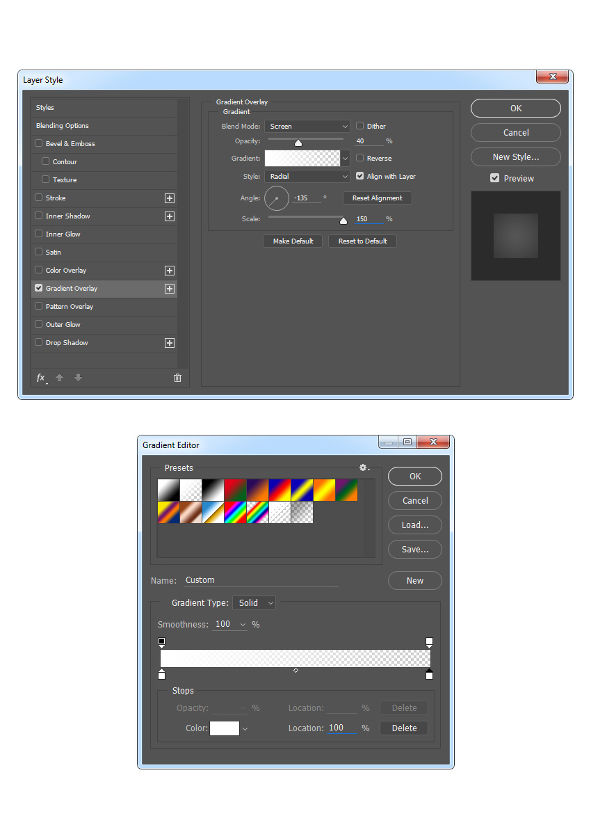 Adding gradient overlay style to Light Source layer