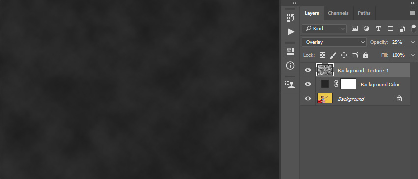 Changing blending mode and opacity of the Background_Texture_1 layer
