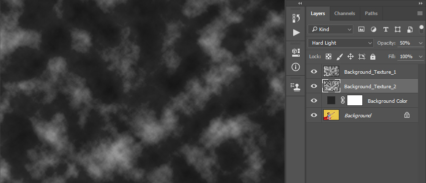 Changing blending mode and opacity of the Background_Texture_2 layer
